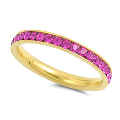 Yellow Gold Ruby Band Stainless Steel Ring Sizes 4-10