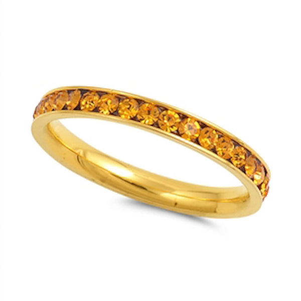 Yellow Gold Yellow Topaz Band Stainless Steel Ring Sizes 4-10