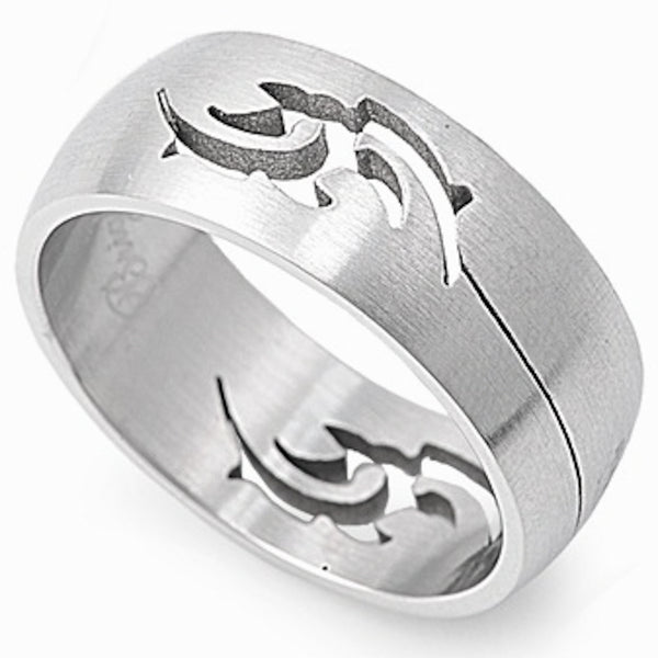 Stainless Steel Hollow Tribal Design Ring Sizes 6-12