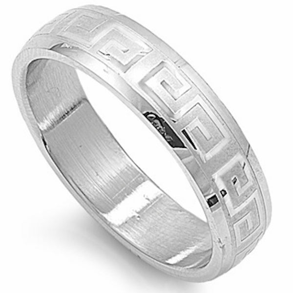 Stainless Steel Greek Pattern Engraved Ring Sizes 6-14