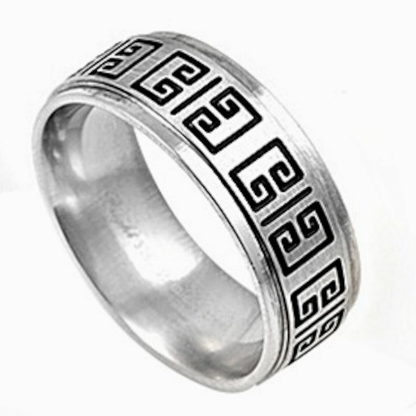 Stainless Steel Greek Ancient Design Ring Sizes 9-13