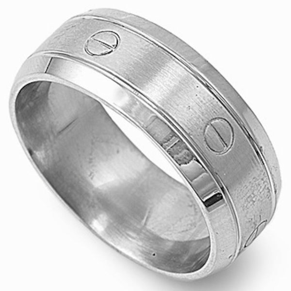 Stainless Steel Nail Head Engraved Ring Sizes 9-13