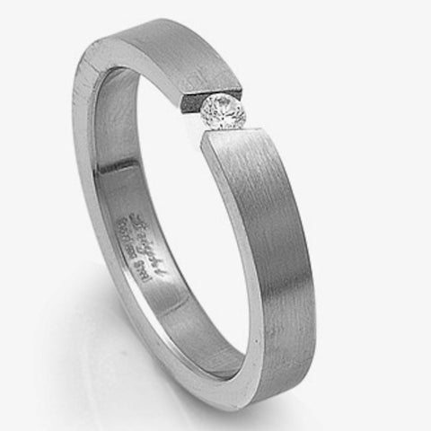 Stainless Steel Invisible Set Cz Ring Sizes 6-14