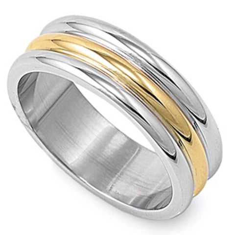 Two-Toned Stainless Steel Stacked Ring Sizes 5-14