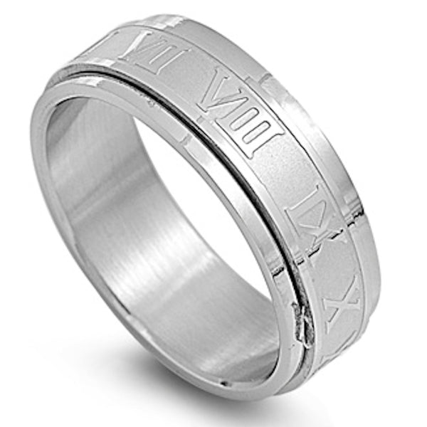 Stainless Steel Roman Numerals Ring Sizes 8-12