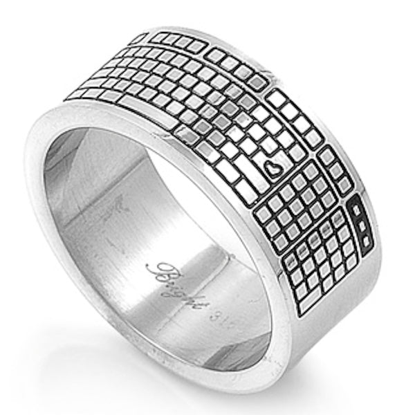 Stainless Steel Keyboard Design Ring Sizes 8-15