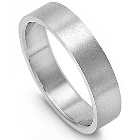 SOLID 6mm FLAT BAND PIPE CUT 316L Stainless Steel Ring WEDDING BAND SIZES 5-14