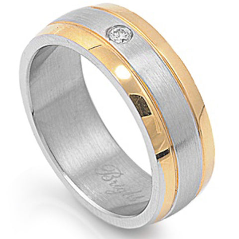 Yellow Plated with Clear Cz Stainless Steel Ring Sizes 9-12