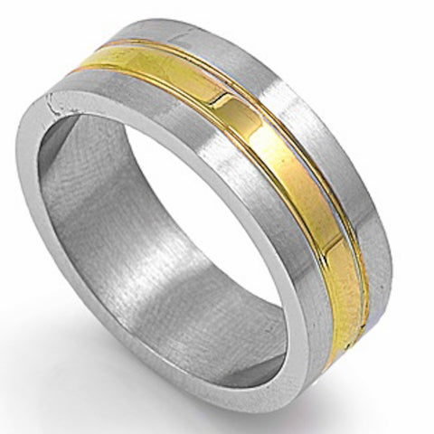 Yellow Plated Line Stainless Steel Ring Sizes 9-12