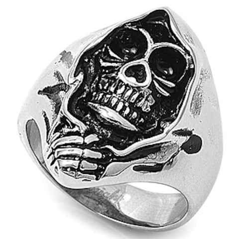 Steel Skull 316L Stainless Steel Ring Sizes 6-18