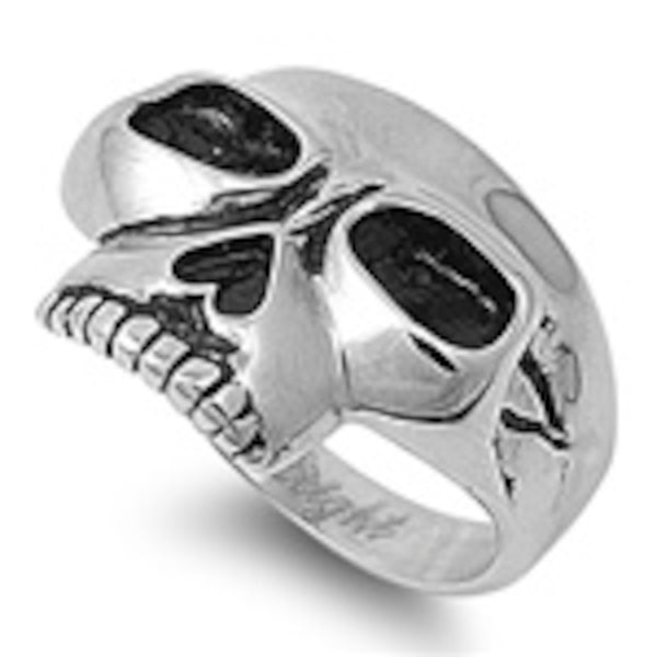 Wide Frontal Skull Stainless Steel Ring Sizes 9-15