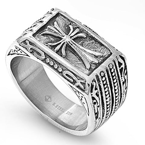 Vintage Cross Design Stainless Steel Ring Sizes 9-14