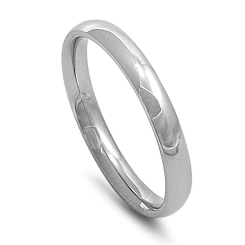 Plain 3mm Stainless Steel Wedding Band Ring Sizes 2-14