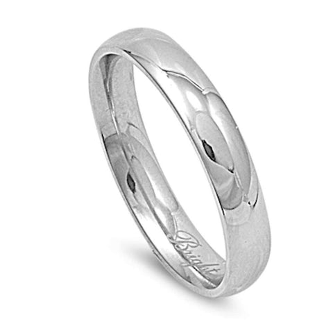 Plain 4mm Stainless Steel Wedding Band Ring Sizes 3-13