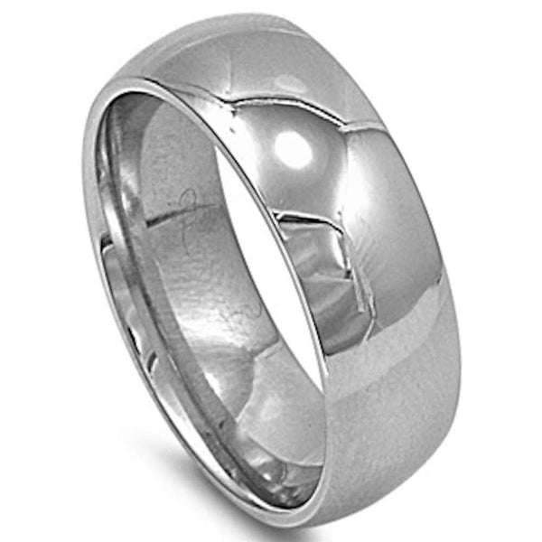 Plain 8mm Band Stainless Steel Ring Sizes 6-15