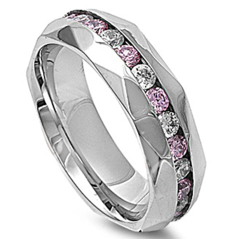 Pink and Clear Cubic Zirconia Stainless Steel Ring Sizes 7-13