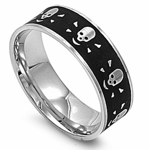 Skull Pattern on Black Plated Stainless Steel Ring Sizes 8-14