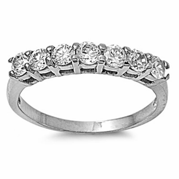 7 Round Cz Design Stainless Steel Ring Sizes 5-10