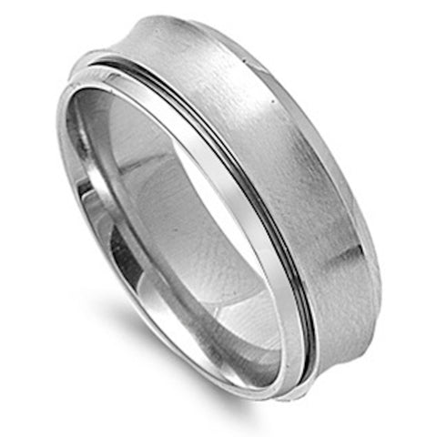 Concave with Edge Detail Stainless Steel Ring Sizes 8-13