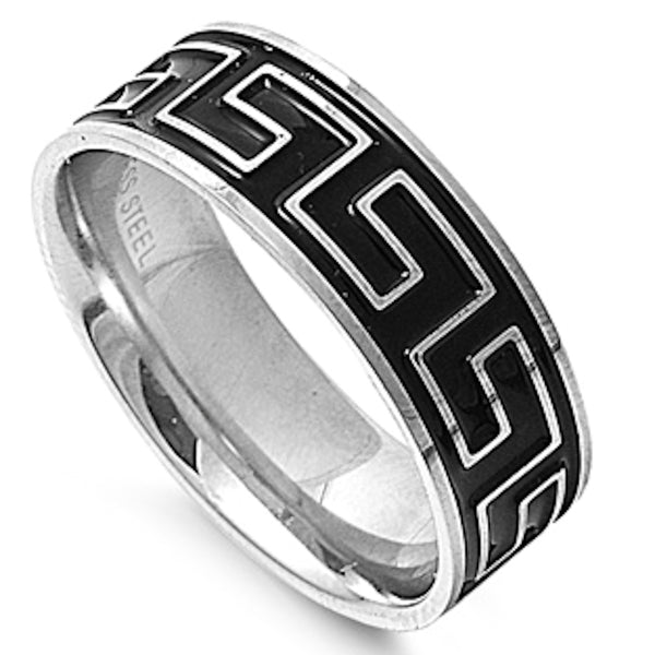 Greek Pattern on Black Plated Stainless Steel Ring Sizes 8-13
