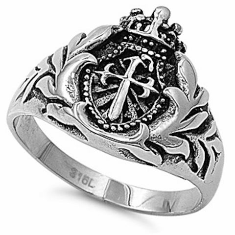 Cross and Crown Stainless Steel Ring Sizes 7-13