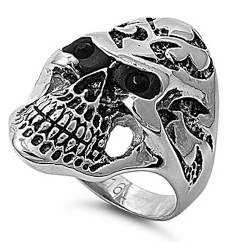 Skull with Black Crystal Eyes Stainless Steel Ring Sizes 8-14
