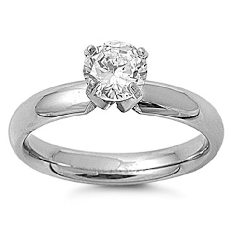 Rounded Edge with Clear Cz Stainless Steel Ring Sizes 5-11