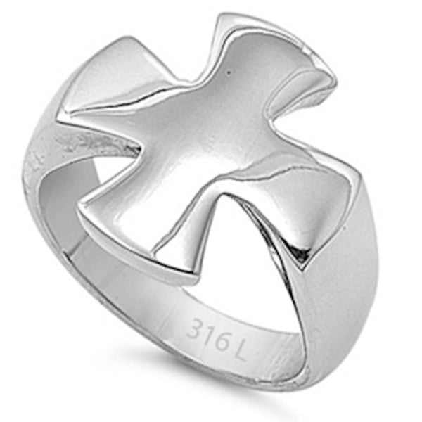 Broad Cross Design Stainless Steel Ring Sizes 6-10
