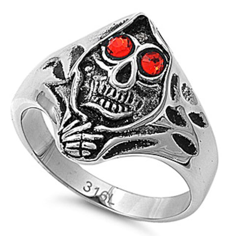 Skull with Red Crystal Eyes Stainless Steel Ring Size 8-15