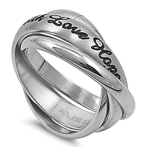 Faith, Love and Hope Stainless Steel Ring Sizes 5-12