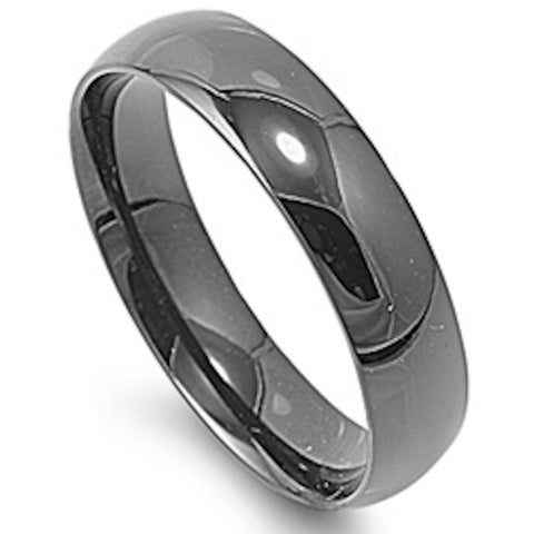 6mm Luminous Black Plated Stainless Steel Ring Size 5-15