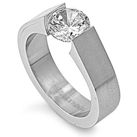 Single Center Stone Stainless Steel Ring Size 5-10