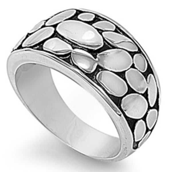 Cobble Stone Design Stainless Steel Ring Size 6-11