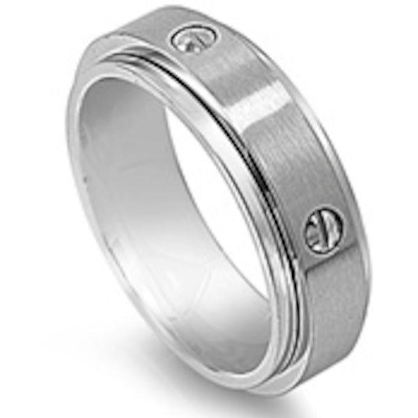 Single Edge Step Design Stainless Steel Ring Size 8-13