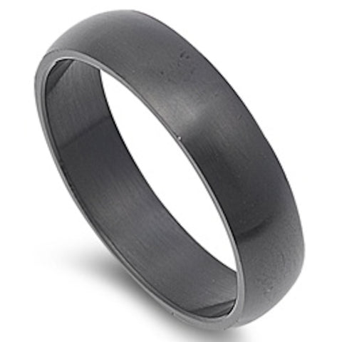 6mm Black Plated Stainless Steel Ring Size 5-15