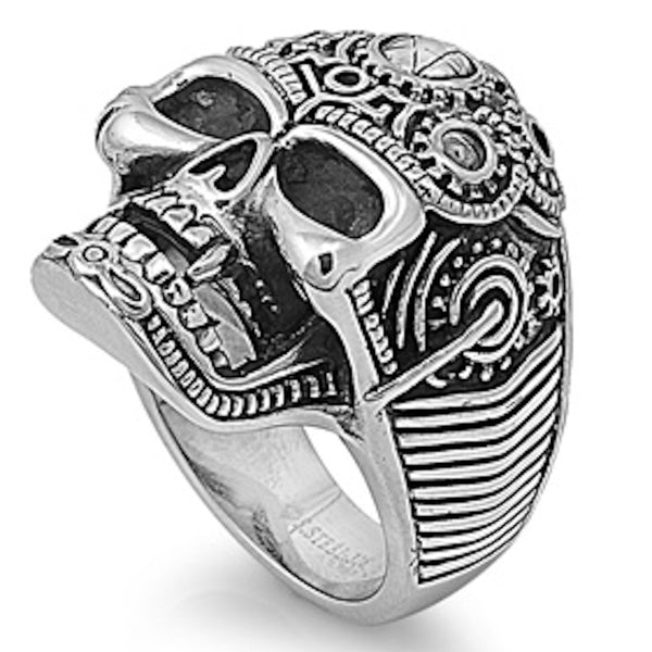 Stainless Steel Heavy Biker's Skull Ring
