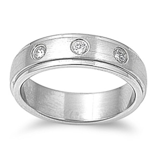 3 Cz Stone with Step Edged Design Stainless Steel Ring Size 9-14