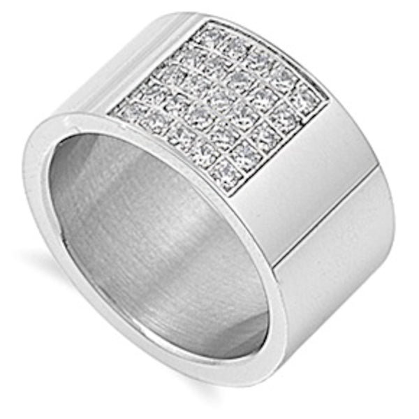 Broad Flat Band with Clear Cz Stainless Steel Ring Size 9-13