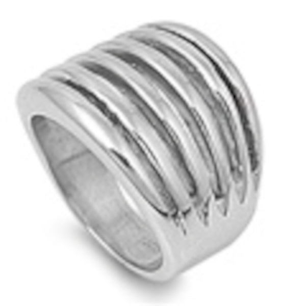 Parallel Hollow Design Stainless Steel Ring Size 6-10