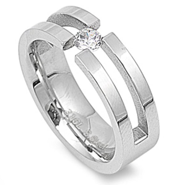 Single Stone Hollow Design Stainless Steel Ring Size 9-13