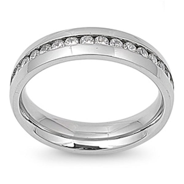Clear Cubic Zirconia Stainless Steel Ring Size 9-13