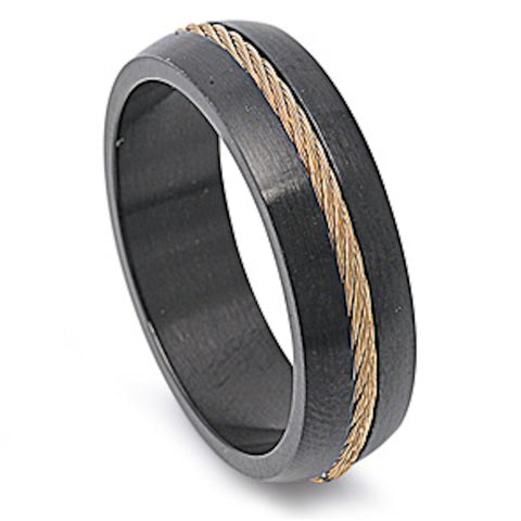 Black Plated Rope Design Stainless Steel Ring Size 9-13