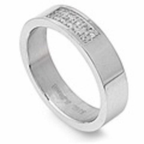 Flat Band with Clear Cubic Zirconia Stainless Steel Ring Size 9-13
