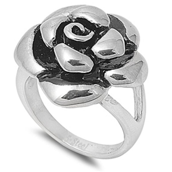 Floral Design Stainless Steel Ring Size 6-10