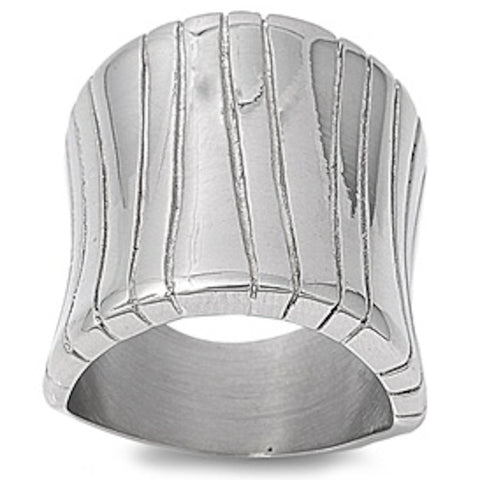 Three Bark Design Stainless Steel Ring Size 6-10
