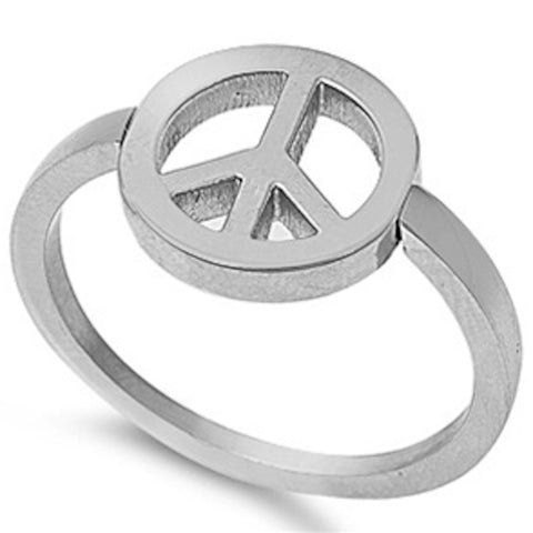 Peace Sign Stainless Steel Ring Size 5-10