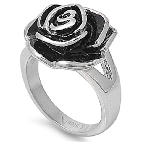 Lovely Rose Stainless Steel Ring Size 6-10