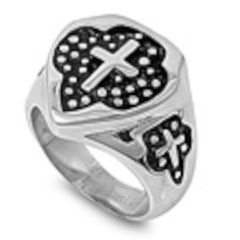 Heavy Cross Design Stainless Steel Ring Size 9-14