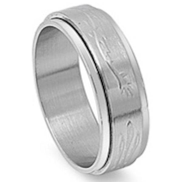 Spinner with Single Edge Stainless Steel Ring Size 9-13