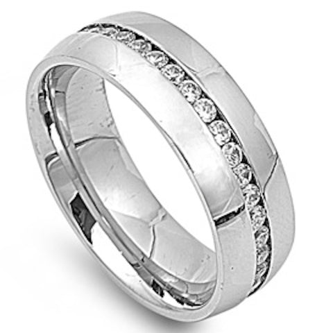 Cz Round Channel Set Wedding Band 316L Stainless Steel Ring Sizes 7-13